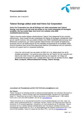 Telenor Sverige utökar avtal med Volvo Car Corporation