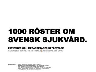 1000 röster om svenska sjukvården