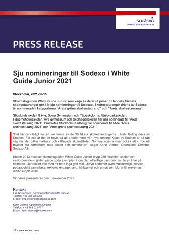Sju nomineringar till Sodexo i White Guide Junior 2021