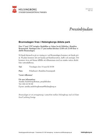 Pressinbjudan: Brunnsdagen firas i Helsingborgs äldsta park