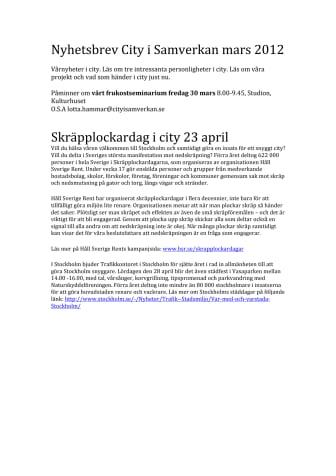 Nyhetsbrev City i Samverkan mars 2012
