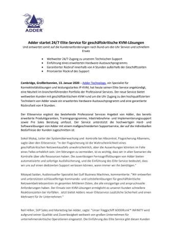 Adder startet 24/7 Elite-Service für geschäftskritische KVM-Lösungen