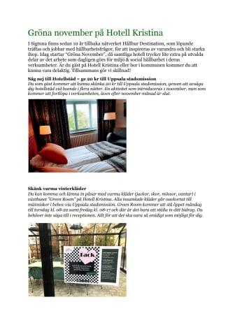 Gröna November startar på Hotell Kristina