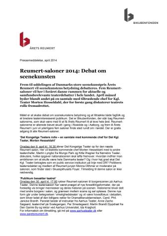 Reumert-saloner 2014: Debat om scenekunsten