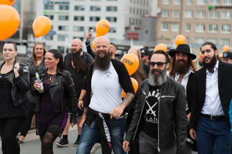 Skäggparad under World Beard Day i Stockholm