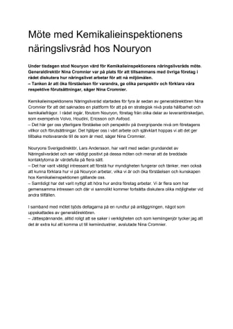Möte med Kemikalieinspektionens näringslivsråd hos Nouryon