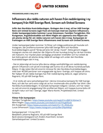 Influencers ska rädda naturen och haven från nedskräpning i ny kampanj från Håll Sverige Rent, Scream och United Screens