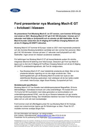 Ford presenterar nya Mustang Mach-E GT – kvickast i klassen
