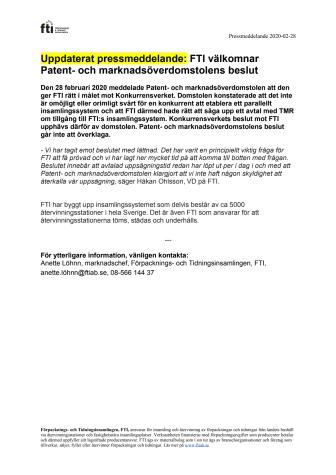 Uppdaterat pressmeddelande: FTI välkomnar Patent- och marknadsöverdomstolens beslut