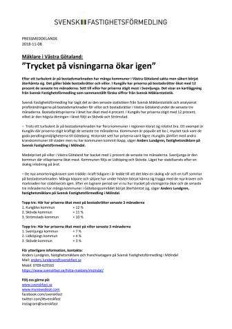 """Mäklare i Västra Götaland: """"Trycket på visningarna ökar igen"""""""