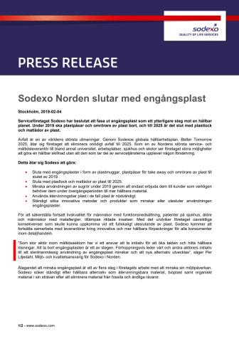 Sodexo Norden slutar med engångsplast
