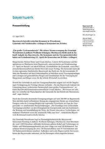 Bayernwerk betreibt weiterhin Stromnetz in Wessobrunn