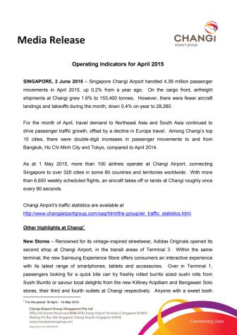 Operating Indicators for April 2015