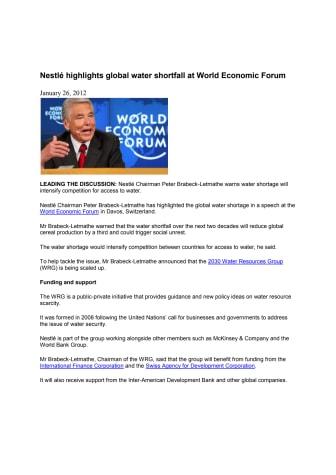 Nestlé advarer om global vandmangel på World Economic Forum
