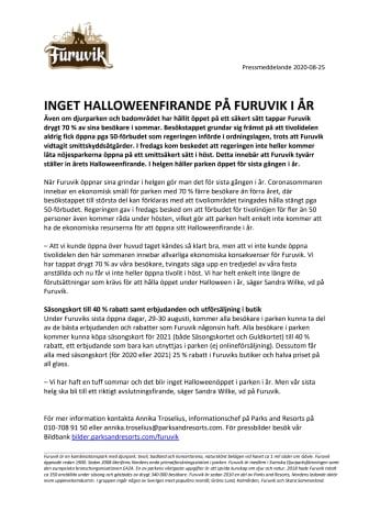 Inget Halloweenfirande på Furuvik i år