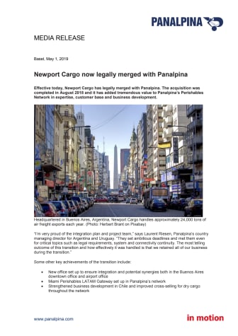 Newport Cargo now legally merged with Panalpina