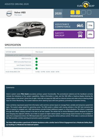 Volvo V60 Euro NCAP Assisted Driving Grading datasheet