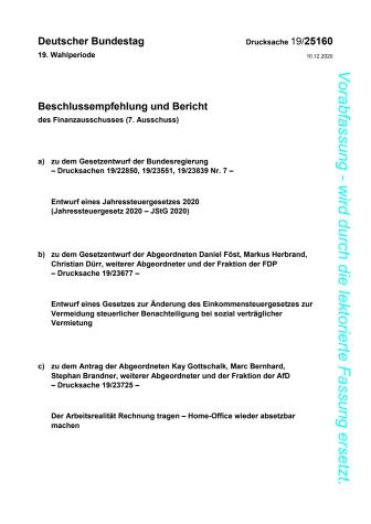 Referentenentwurf Jahressteuergesetz 2020