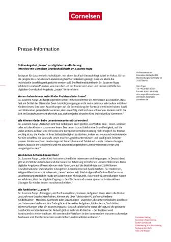 """Online-Angebot """"Leseo"""" zur digitalen Leseförderung: Interview mit Cornelsen-Grundschulleiterin Dr. Susanne Rupp"""