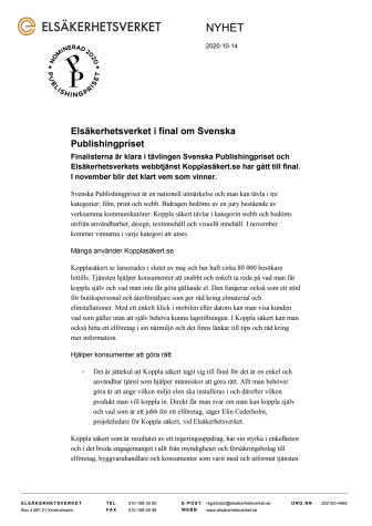 Elsäkerhetsverket i final om Svenska Publishingpriset