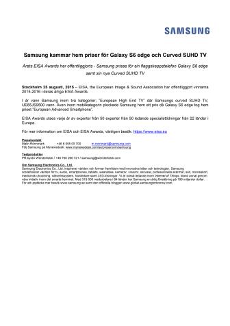 Samsung kammar hem priser för Galaxy S6 edge och Curved SUHD TV