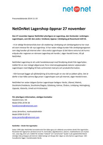 NetOnNet Lagershop öppnar 27 november
