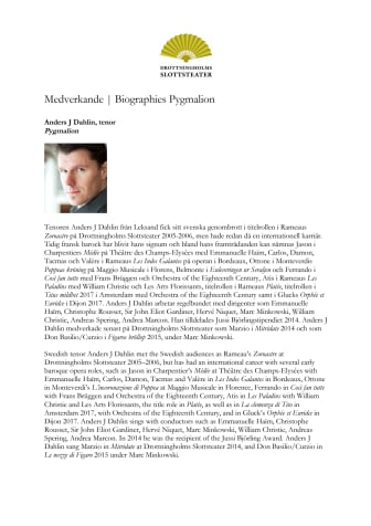 Medverkande Biographies Pygmalion