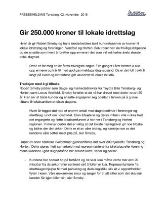 Gir 250.000 kroner til lokale idrettslag