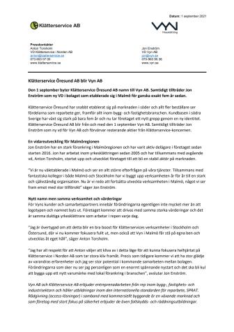Pressmeddelande - Klätterservice Öresund AB blir Vyn AB