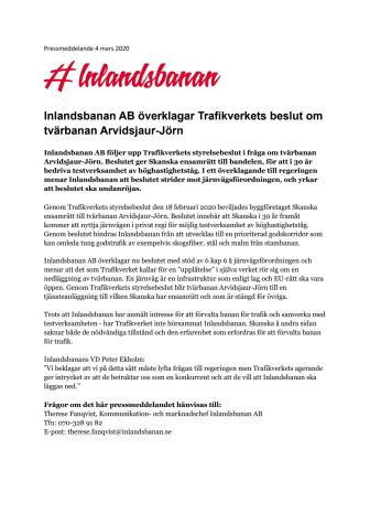 Inlandsbanan AB överklagar Trafikverkets beslut om tvärbanan Arvidsjaur-Jörn
