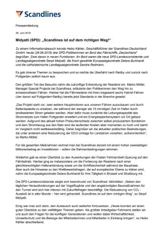 """Midyatli (SPD): """"Scandlines ist auf dem richtigen Weg!"""""""
