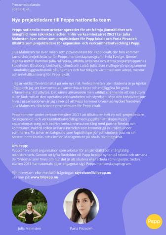 Nya projektledare till Pepps nationella team