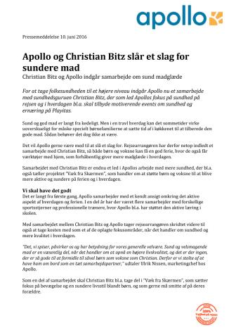Apollo og Christian Bitz slår et slag for sundere mad