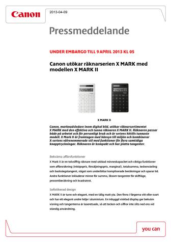 Canon utökar räknarserien X MARK med modellen X MARK II