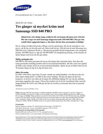 Spela för att vinna: Tre gånger så mycket kräm med Samsungs SSD 840 PRO