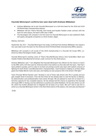 Andreas Mikkelsen har signert to-års kontrakt med Hyundai
