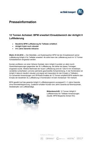 12 Tonnen Achslast: BPW erweitert Einsatzbereich der Airlight II Luftfederung