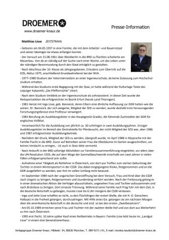 Matthias Lisse, Die geteilten Jahre - Zeitstrahl