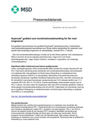 Keytruda® godkänt som kombinationsbehandling för fler med lungcancer