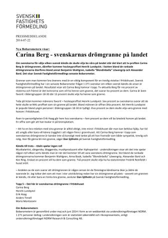 Nya Bobarometern visar: Carina Berg är svenskarnas drömgranne på landet