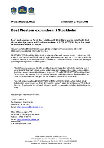 Best Western expanderar i Stockholm