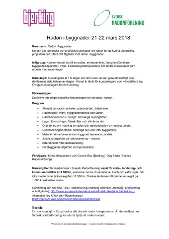 Radonkurs 21-22 mars i Uppsala - Sista anmälningsdag 28 februari!