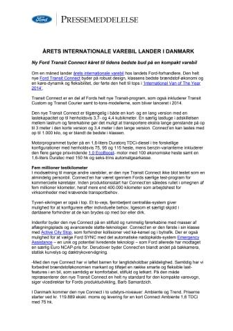 ÅRETS INTERNATIONALE VAREBIL LANDER I DANMARK