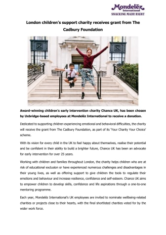 London Children's support charity receives grant from The Cadbury Foundation - Press Release PDF Version