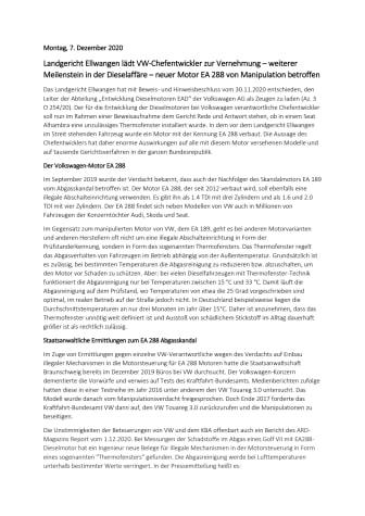 Landgericht Ellwangen lädt VW-Chefentwickler zur Vernehmung – weiterer Meilenstein in der Dieselaffäre – neuer Motor EA 288 von Manipulation betroffen