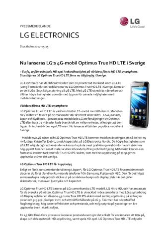 Nu lanseras LG:s 4G-mobil Optimus True HD LTE i Sverige