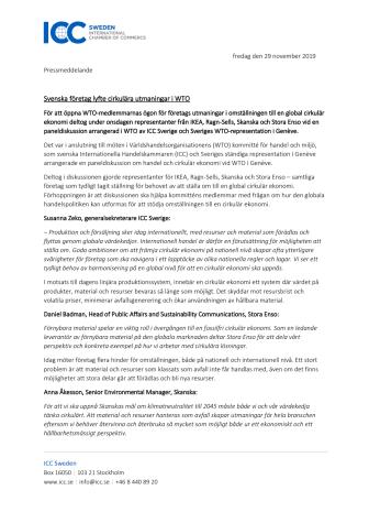 Svenska företag lyfte cirkulära utmaningar i WTO