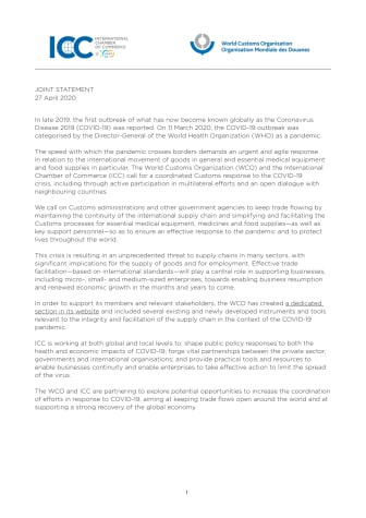 ICC-WCO Joint Statement in response to Covid-19