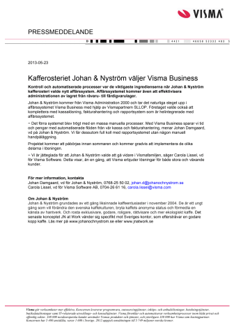Kafferosteriet Johan & Nyström väljer Visma Business