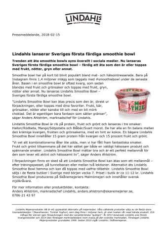 Lindahls lanserar Sveriges första färdiga smoothie bowl
